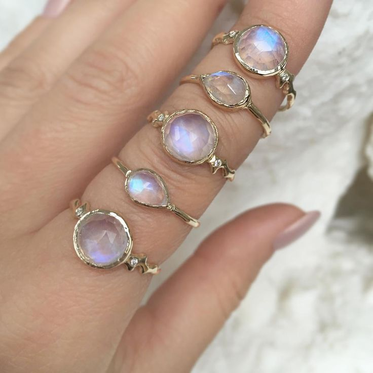 Moonstone, moonstones and more moonstones! We can't get enough so we stack them all. So many great gold and diamond bands to stack the Morro Moon and Compass Moonstone Rings with on the Misa Jewelry website