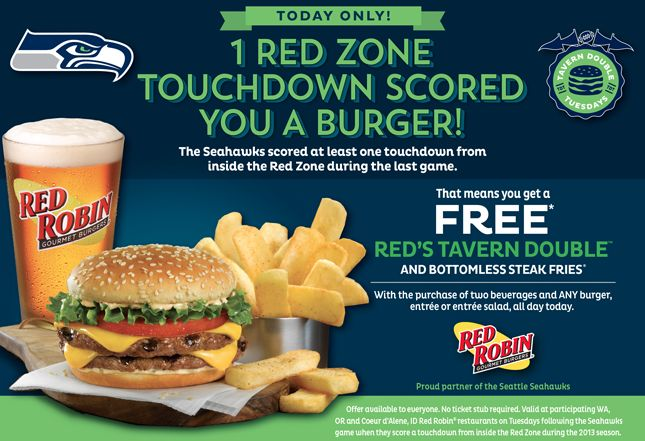 Free Red Robin Tavern Double Burger and Fries with Purchase for Seahawks Red Zone Touchdown