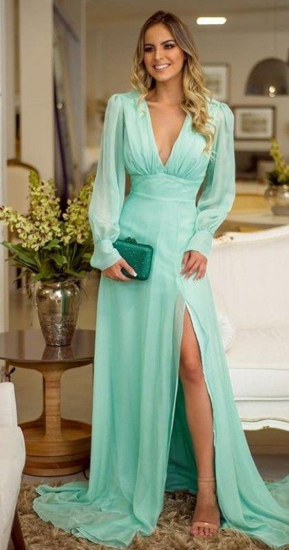 Vestido de festa verde claro: seleção com vestidos longos para madrinhas de casamento   – vestidos