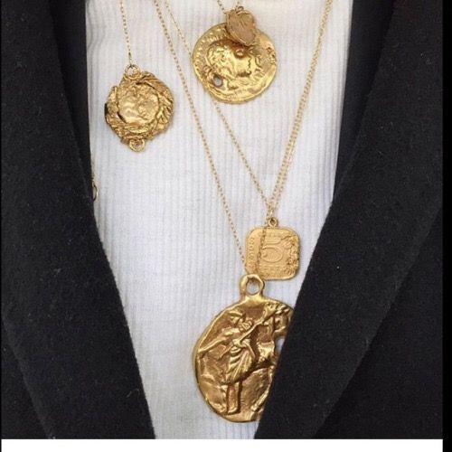 Gold necklaces, medallions