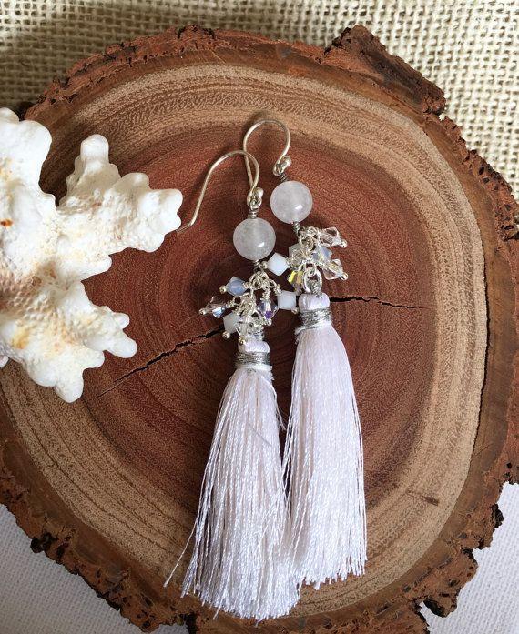 Tassel Earrings  White Earrings  Bridal by GreenGeckoJewellery