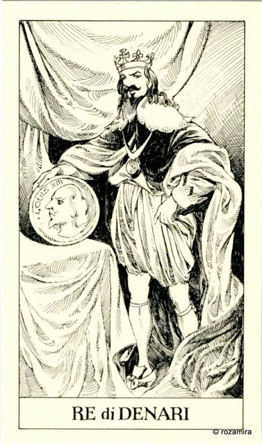 King of Coins - Tarot of the 3 Musketeers ( I Tarocchi del re Sole) by  Paolo Piffarerio