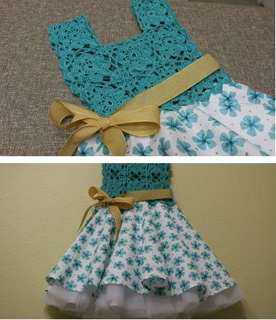 Precioso vestido para niña, con blusa tejido que forman flores en cuadros.Paso a paso como cortar y coser la falda circular con fondo a la blusa tejida para niñas de 6 y 7 años