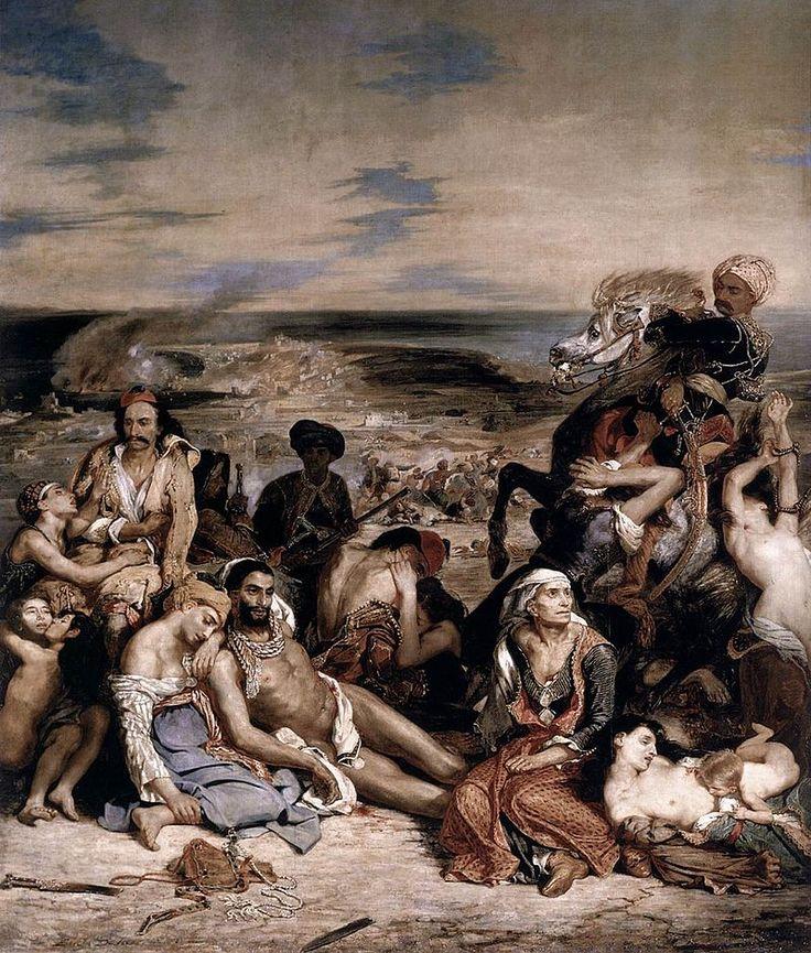 """Eugène Delacroix, Massacre at Chios (1824), Louvre. Eugène Delacroix, Scene of the massacre at Chios; Greek families awaiting death or slavery, 1824 Salon, oil on canvas, 164"""" × 139"""" (419 cm × 354 cm) (Musée du Louvre, Paris) Speakers: Dr. Beth Harris and Dr. Steven Zucker http://www.smarthistory.org/delacroix-scene-massacre-chios.html"""