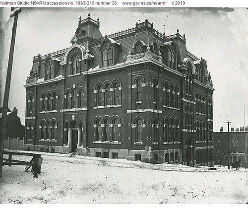 Halifax County Academy, Brunswick and Sackville Streets, Halifax, Nova Scotia, winter scene 1880