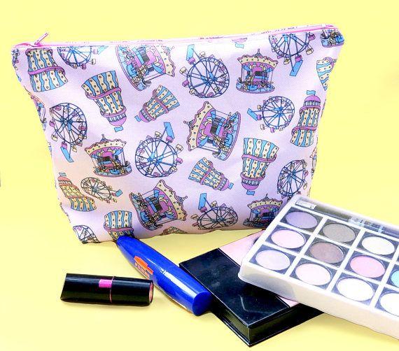 Funfair makeup bag  large cosmetics bag  vintage fairground