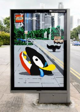 Ogilvy & Mather came up with a neat series of three bus shelter advertisements, entitled 'Whale', 'Caterpillar' and 'Monster'. What really makes it creative is how the surrounding environments were made part of the composition, emphasizing the way Lego appeals to imagination.