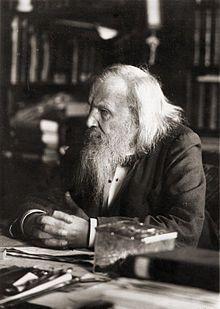 Dmitri Ivanovitch Mendeleïev né le 8 février (27 janvier) 1834 à Tobolsk et mort le 2 février (20 janvier) 1907 à Saint-Pétersbourg, est un chimiste russe. Il est principalement connu pour son travail sur la classification périodique des éléments, publiée en 1869 et également appelée « tableau de Mendeleïev ». Il déclara que les éléments chimiques pouvaient être arrangés selon un modèle qui permettait de prévoir les propriétés des éléments encore non découverts.