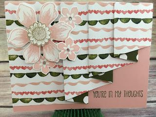 """This Blushing Bride and Mossy Meadow Thinking of You card uses Stampin' Up!'s: Beautiful Bunch stamp set, Fun Flower punch, and more!  It's the Drapery Fold Technique using Birthday Bouquet Designer Paper: cut paper to 4 x 11 1/2; score at 3, 4, 6, 7, 9, 10.  Make a pencil mark at 1 5/8 on the end opposite of the first 3"""" score mark and cut with paper trimmer from that pencil mark to the very first 3"""" score mark.  Tutorial for 4 classes (including this card) only $10.  See """"Events"""" at…"""