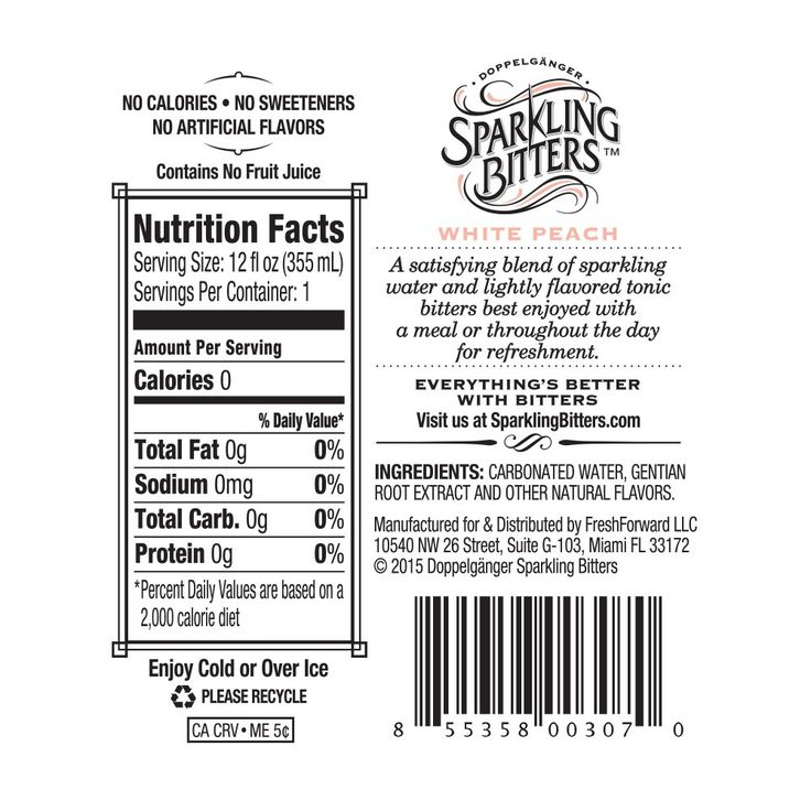 Sparkling Bitters Water Back Label