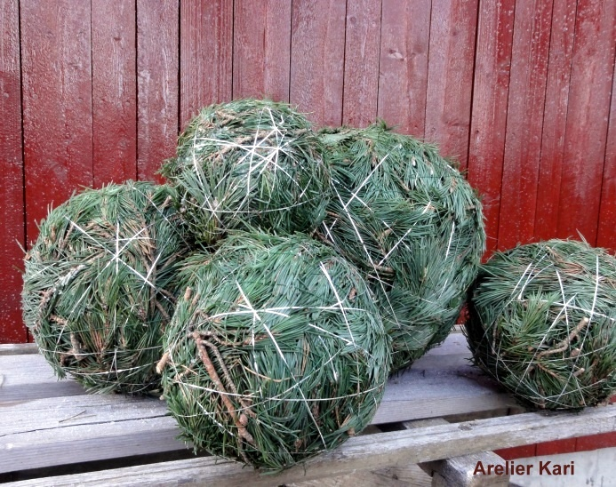 Christmas balls made from greens