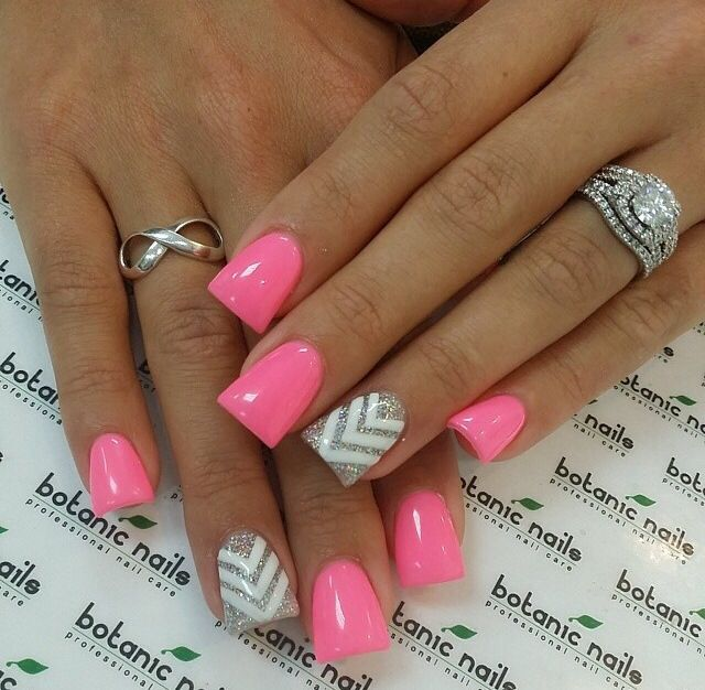 77 best botanic nails images on pinterest botanic nails nail love these pink with sparkly silver and white zigzag nail design prinsesfo Gallery
