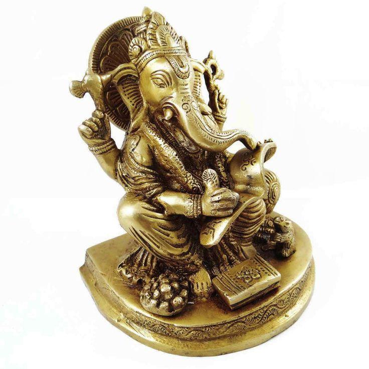 Hindu Statue Of God Ganesha Brass Metal Figurine Ritual Sculpture Home D?cor Art ..this is img