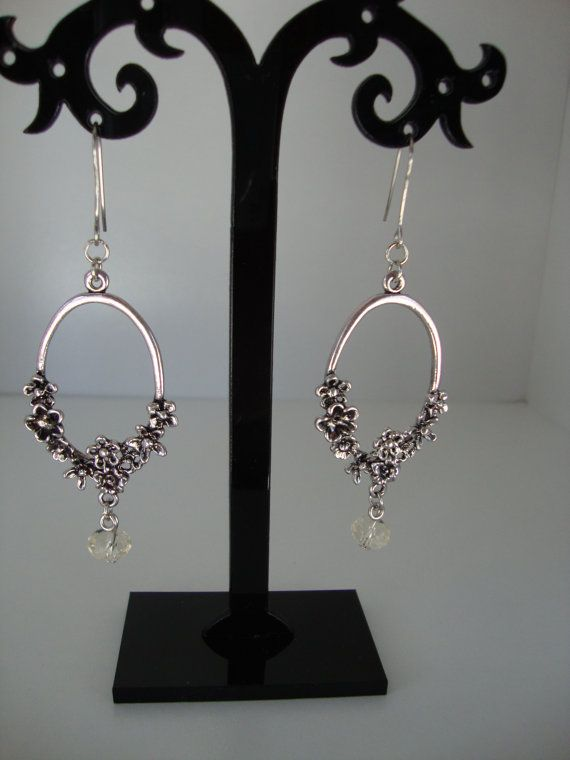Antique silver Earrings with white glass bead