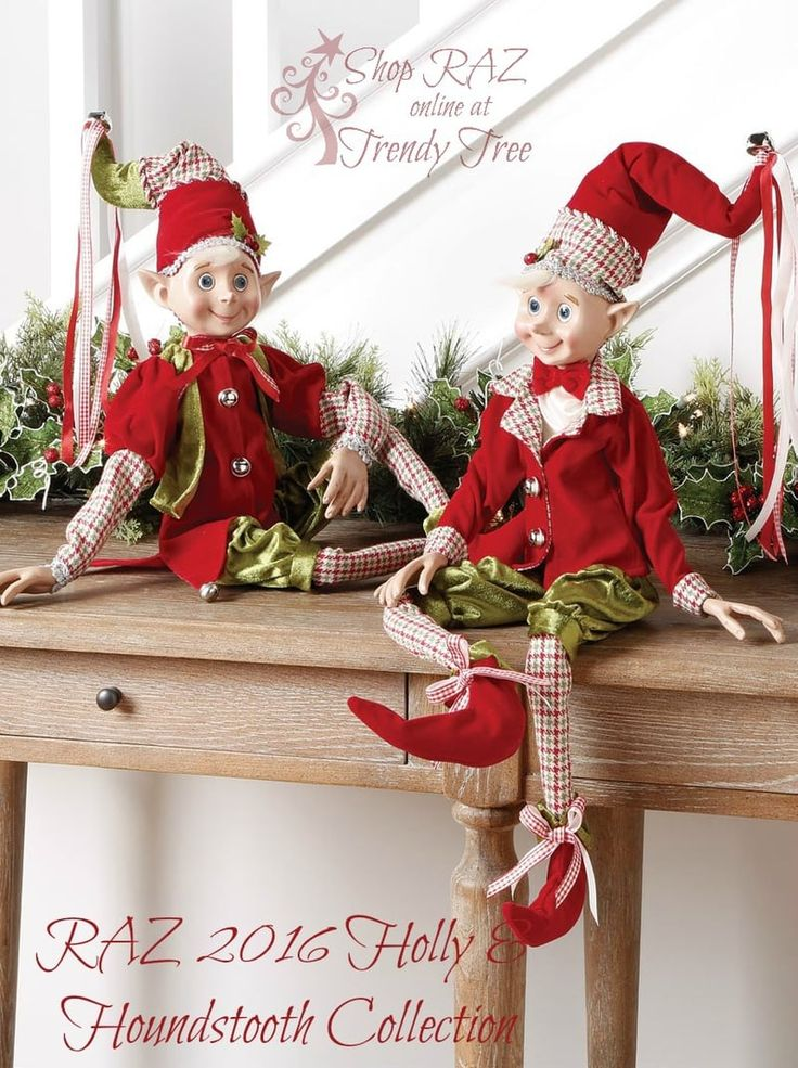 "RAZ Red and Green Plaid Elves Set of 2 2 Assorted whimsical posable elves Red, Green Set includes one of each style Made of Polyester Measures 30"" For Decorative Use Only Not Intended for Children RAZ 2016 Holly & Houndstooth Collection"