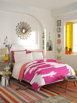bed love. colors love. pink. coral. gray. white.