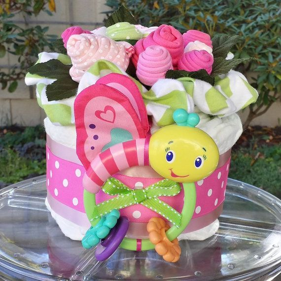 Butterfly Baby Diaper Cake ~ Baby Sock Bouquet ~ In Pink and Lime Green (shower gift/table centerpiece)