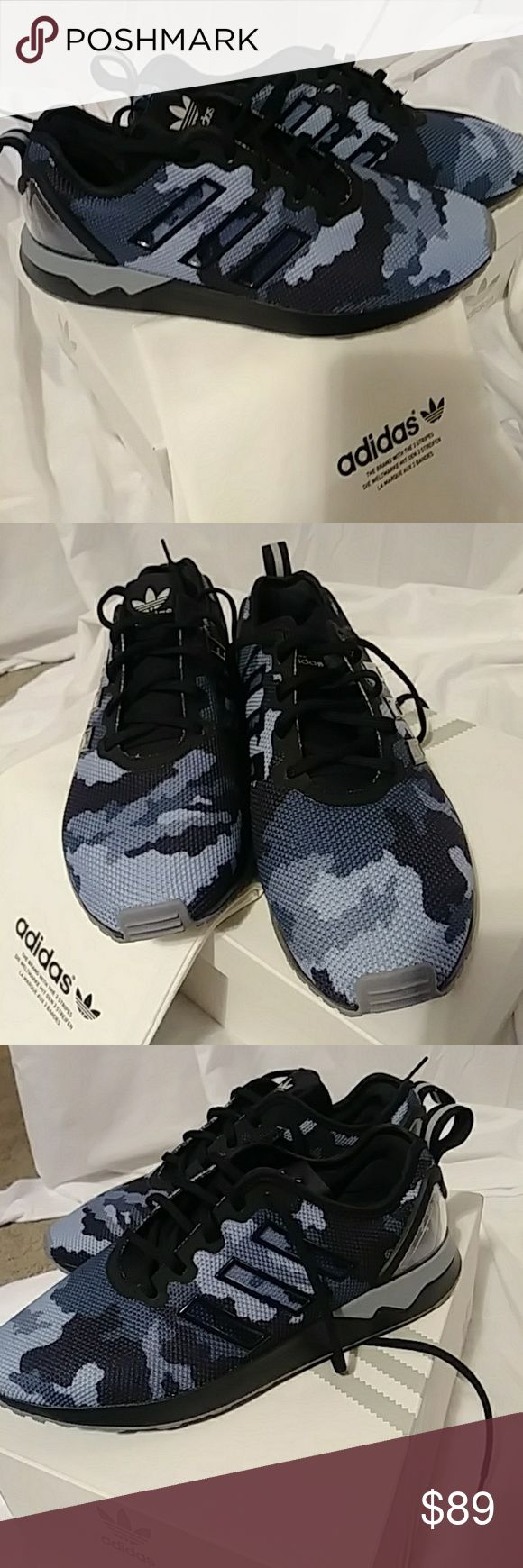 Adidas brand new womens sneakers size 8 Never worn custom made design Adidas sneakers. Blue gray black camo design. Super soft mesh like material . size 8 but run slightly bigger. More like 8.5. Wider front . adidas Shoes Sneakers