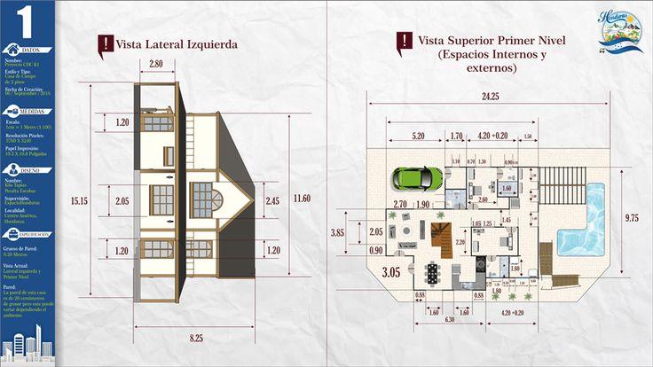#kilotapias #espaciohonduras Diseños y planos de Casa de Campo Dos Niveles proyecto CDC K1