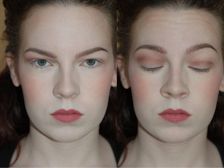 "Another common suggestion is to ""blow out"" the crease. But what does this mean?? This simply means bringing your crease color up to the level I mapped out in the last slide. On the left, I have blown my crease color up over the fold; on the right, I have left the crease color in just the socket of my eye, or what would traditionally be the crease for someone with non-hooded eyes."