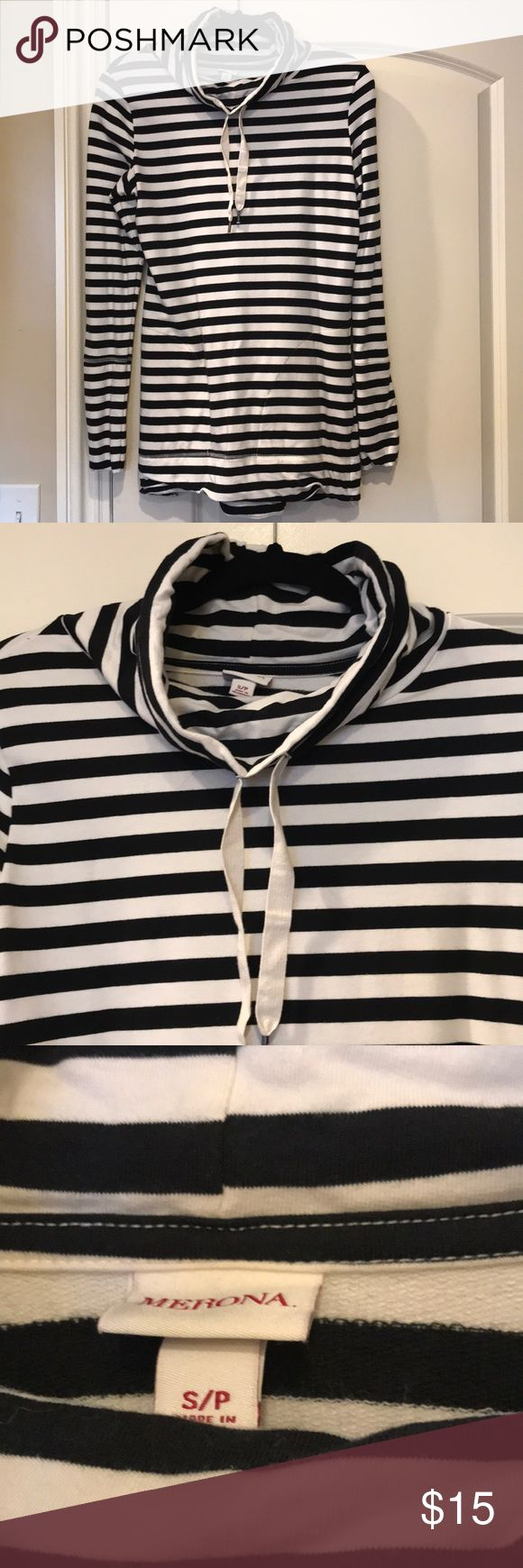 Long sleeve Top Merona black and offwhite stripe top with slouchy turtleneck!! Hangs longer and is slightly longer in the back! Like new! Size small Merona Tops Sweatshirts & Hoodies