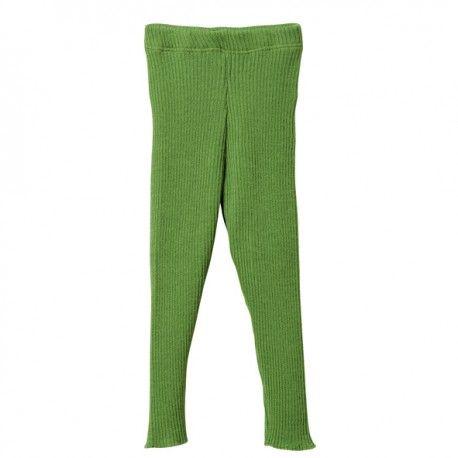 Knitted leggings wool, green, Disana