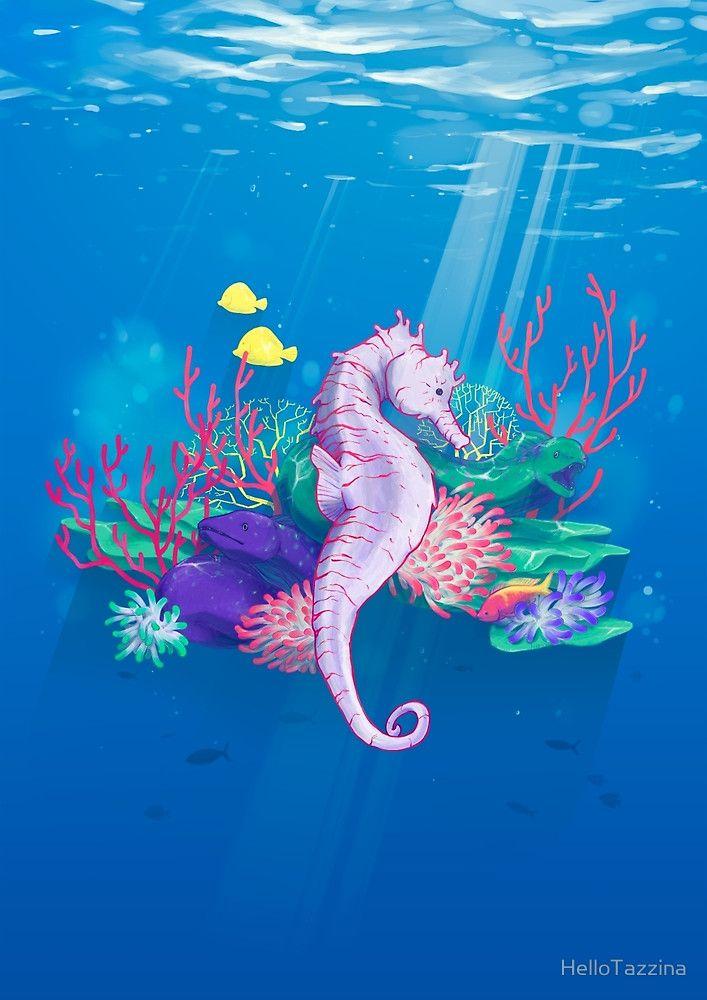 Seahorse - Underwater - digital illustration - Hello Tazzina - Redbubble