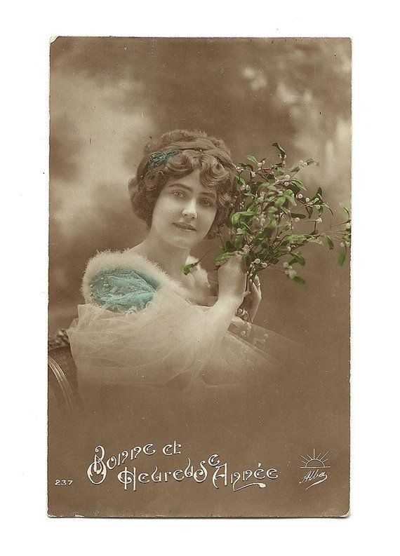 French Colorized Photo Postcard, Happy New Year, Colorized Portrait of Woman with Mistletoe, Scrapbooking Mixed Art Collectible Card