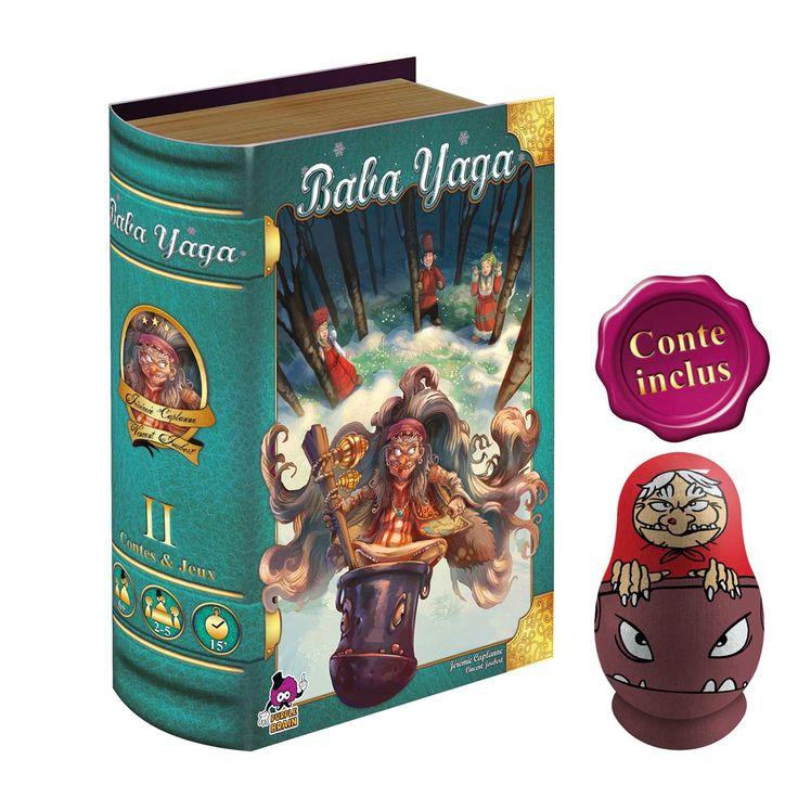 """Deuxième opus de la série """"Contes & Jeux"""", Baba Yaga est un jeu simple et malin alliant mémoire et rapidité, pour toute la famille. À votre tour, dévoilez une de vos cartes Sort, puis retournez le plus vite possible les tuiles Forêt pour retrouver 3 des ingrédients dessinés sur la carte. Pendant que vous jouez, vos adversaires font avancer chacun à leur tour la figurine de sorcière sur la piste de Baba Yaga, aussi vite qu'ils le peuvent : dès qu'elle revient sur la case Départ, votre tour…"""