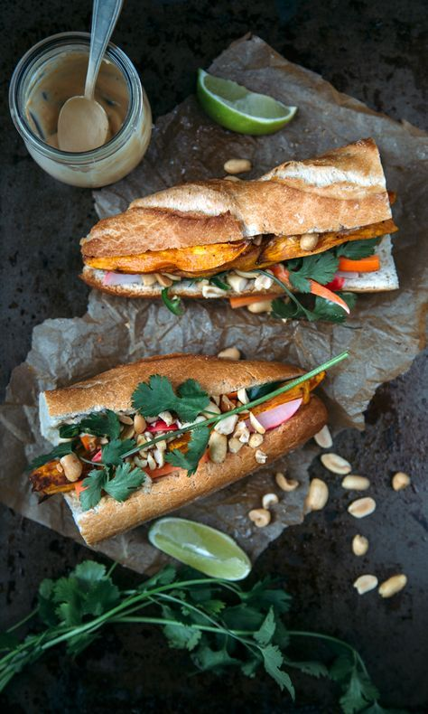 Smokey Sweet Potato Bánh Mì (with pickled  carrots and radishes, spicy jalapeño, salty peanuts)