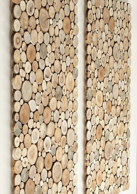wooden wall art UK- a set of 2, Tree rounds decor, tree slice wall board, modern wood art