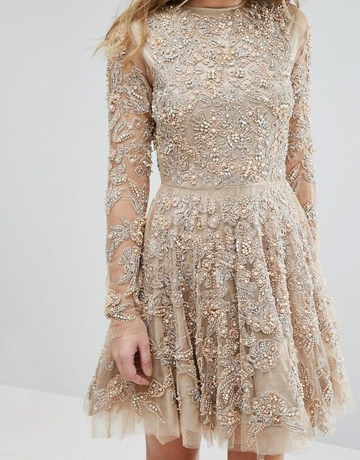A Star Is Born Skater Dress With Allover Embellishment