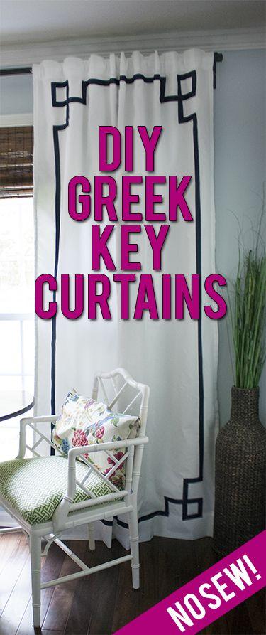 DIY no-sew Greek key curtain panels