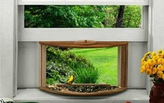 Creates the illusion of the bird being inside your house. Install it in your window  just like a window air conditioner.