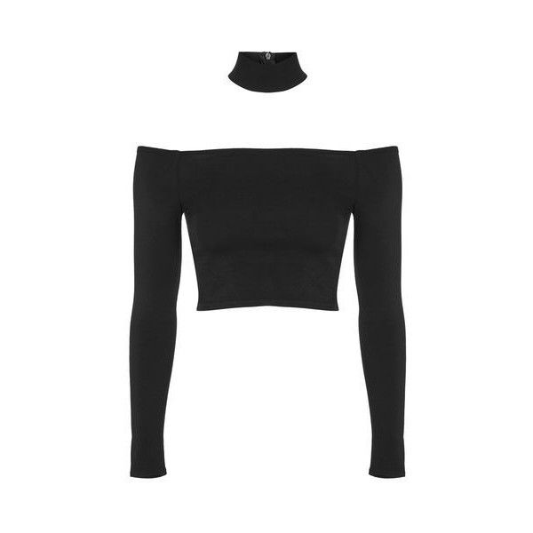 Choker Crop Top by Nobody's Child (25 AUD) ❤ liked on Polyvore featuring tops, black, long sleeve crop top, holiday party tops, going out tops, long sleeve tops and party tops