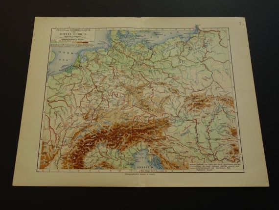 Old height and river map of Europe 1913 original by VintageOldMaps