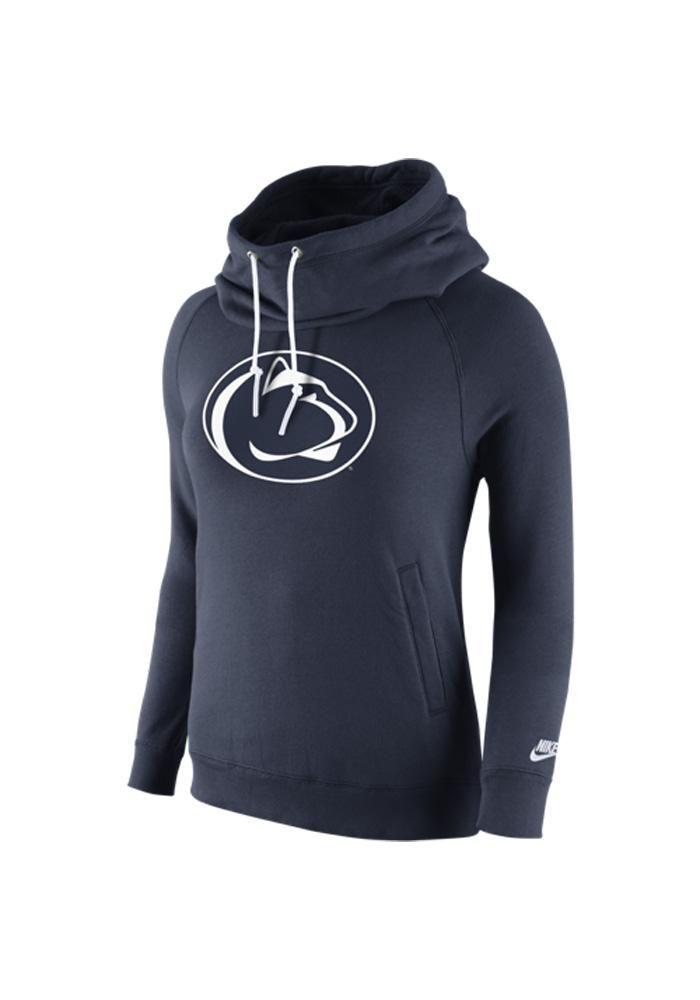 Penn State Nittany Lions Nike Hooded Sweatshirt - Nittany Lions Womens Navy Blue Rewind Funnel Long Sleeve Hoodie