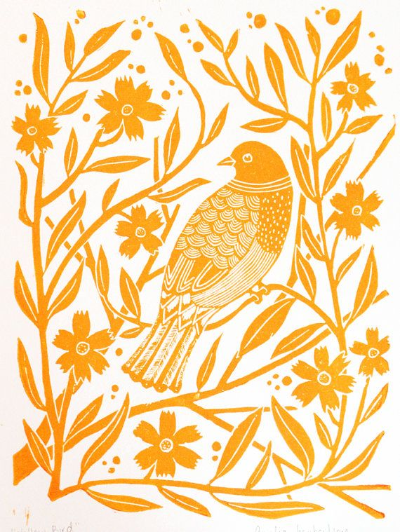 Lino Print Yellow bird with flowers by AmeliaHerbertson on Etsy, $35.00