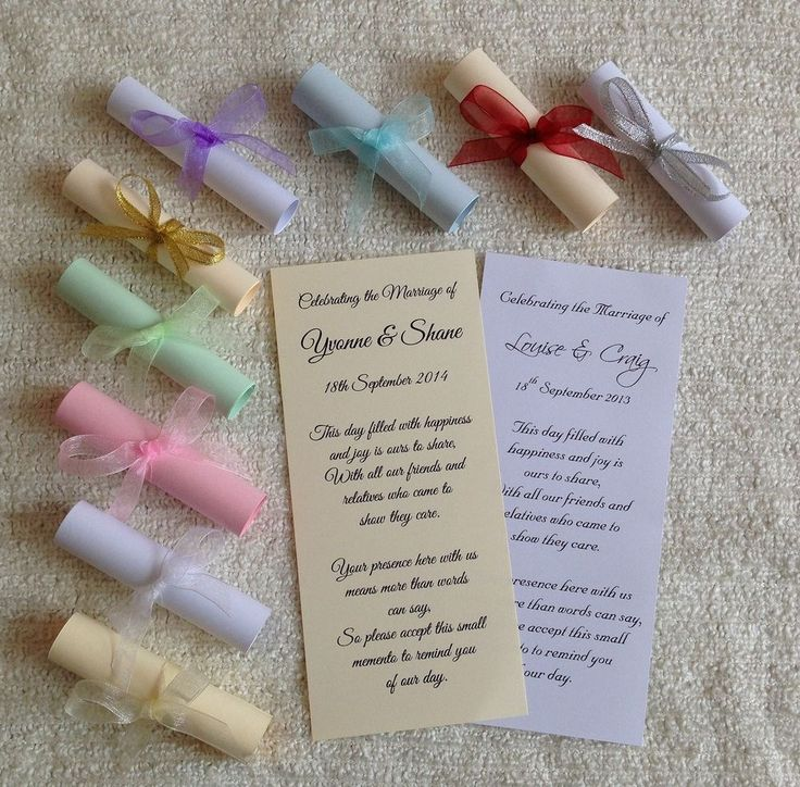 Wedding Favour Scrolls Personalised Guest Party Favor Card
