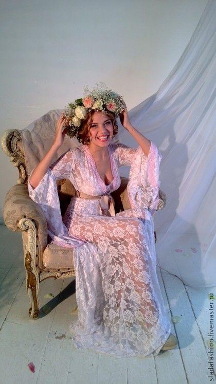 """Пеньюар """"Афродита"""" - белый,цветочный,розовый,кружево,кружевной пеньюар"""