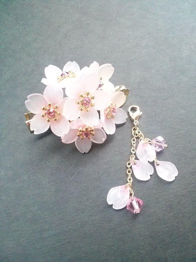 【B】はんなり。。。桜♪~簪(ヘアクリップ)~チャーム付き