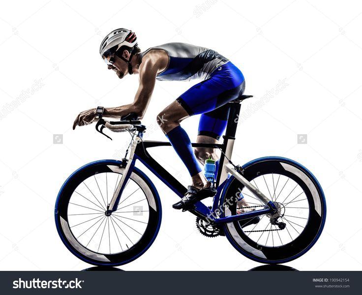 Man Triathlon Iron Man Athlete Bikers Cyclists Bicycling Biking In Silhouettes On White Background Стоковые фотографии 190942154 : Shutterstock
