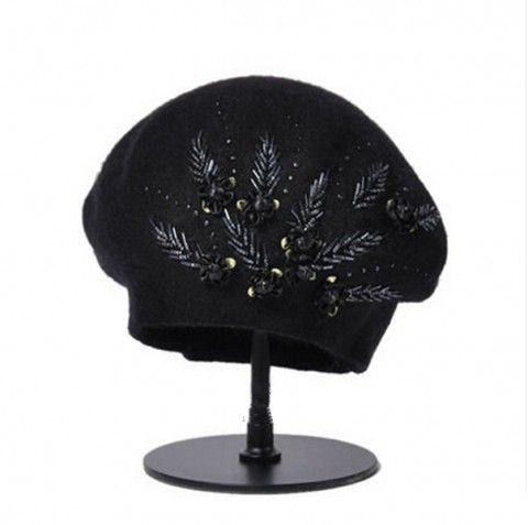 Hand-beaded flowers beret hat for women fashion wool hat winter wear