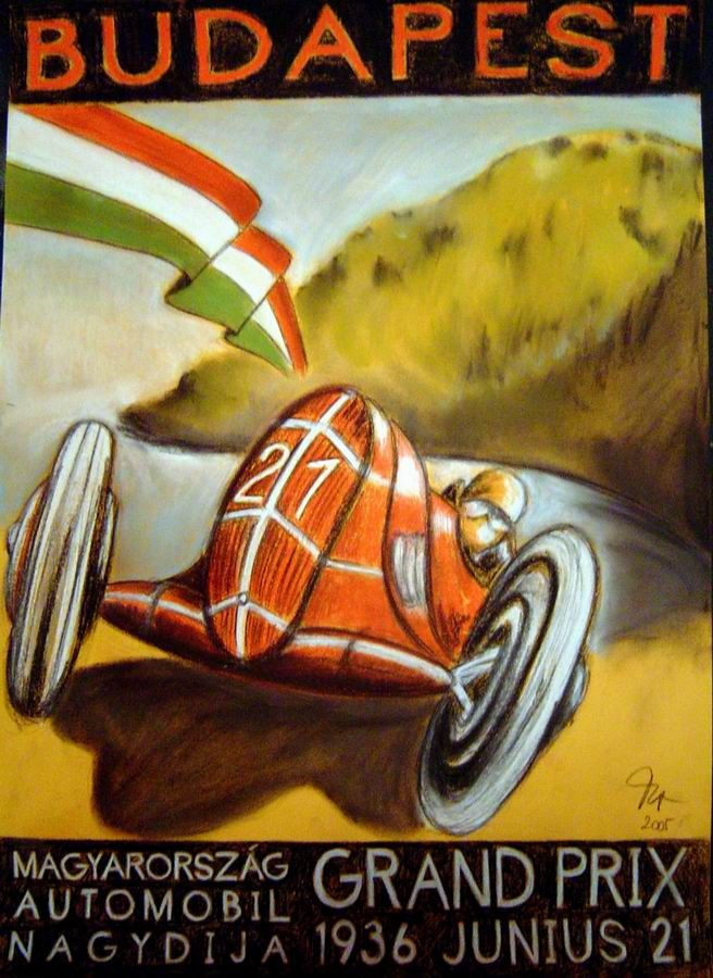 Vintage Grand Prix poster, Budapest, Hungary