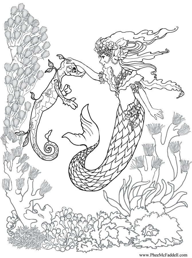 realistic mermaid coloring pages for adults adult color color sheet