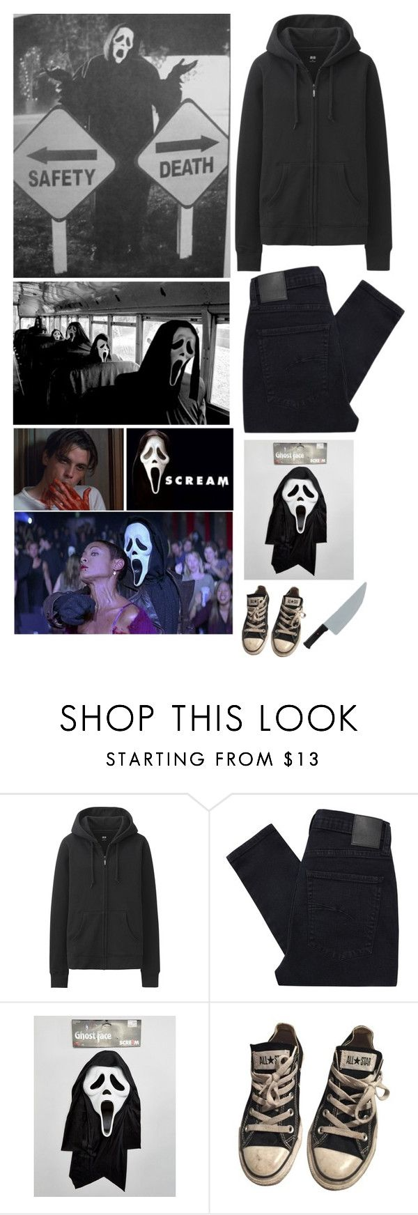 """""""Simple Scream Costume - Day 16 of Halloween Count Down ~ Outfit #8"""" by insane-alice-madness ❤ liked on Polyvore featuring Uniqlo, Nobody Denim and Converse"""