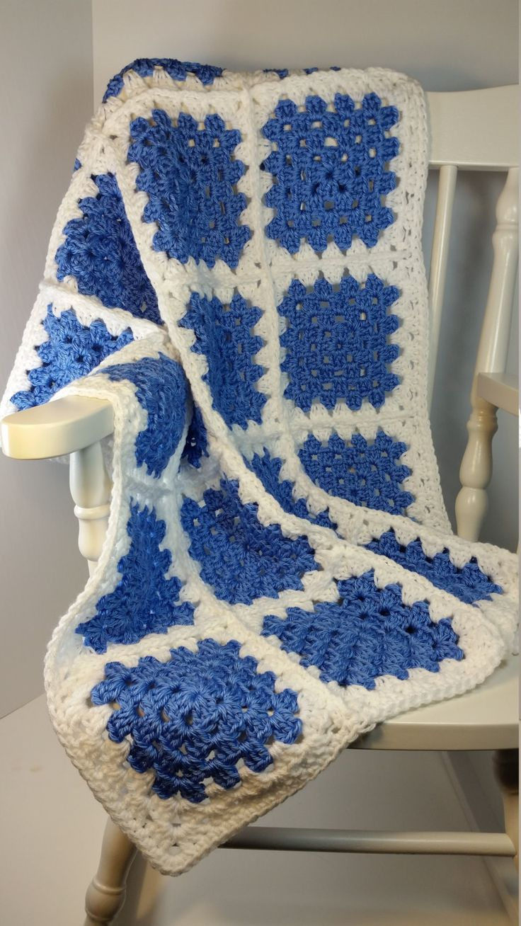 Crochet Baby Blanket Periwinkle Blue White Granny Square Stroller Size Car Seat…