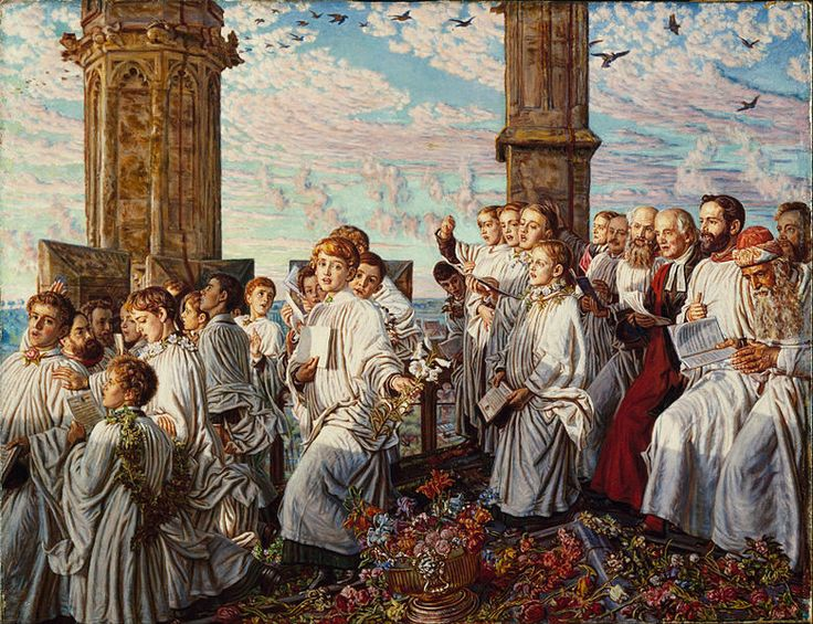 """William Holman Hunt - """"May Morning on Magdalen College, Oxford, Ancient Annual Ceremony""""  1888 - 1893"""