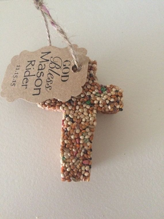 Christening, baptism, memorial service.  Cross Bird Seed Favors 50 by KariFlo on Etsy