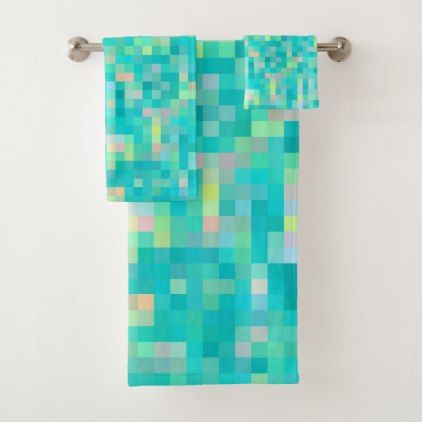 Pixel Art Multicolor Pattern Bath Towel Set - home gifts ideas decor special unique custom individual customized individualized